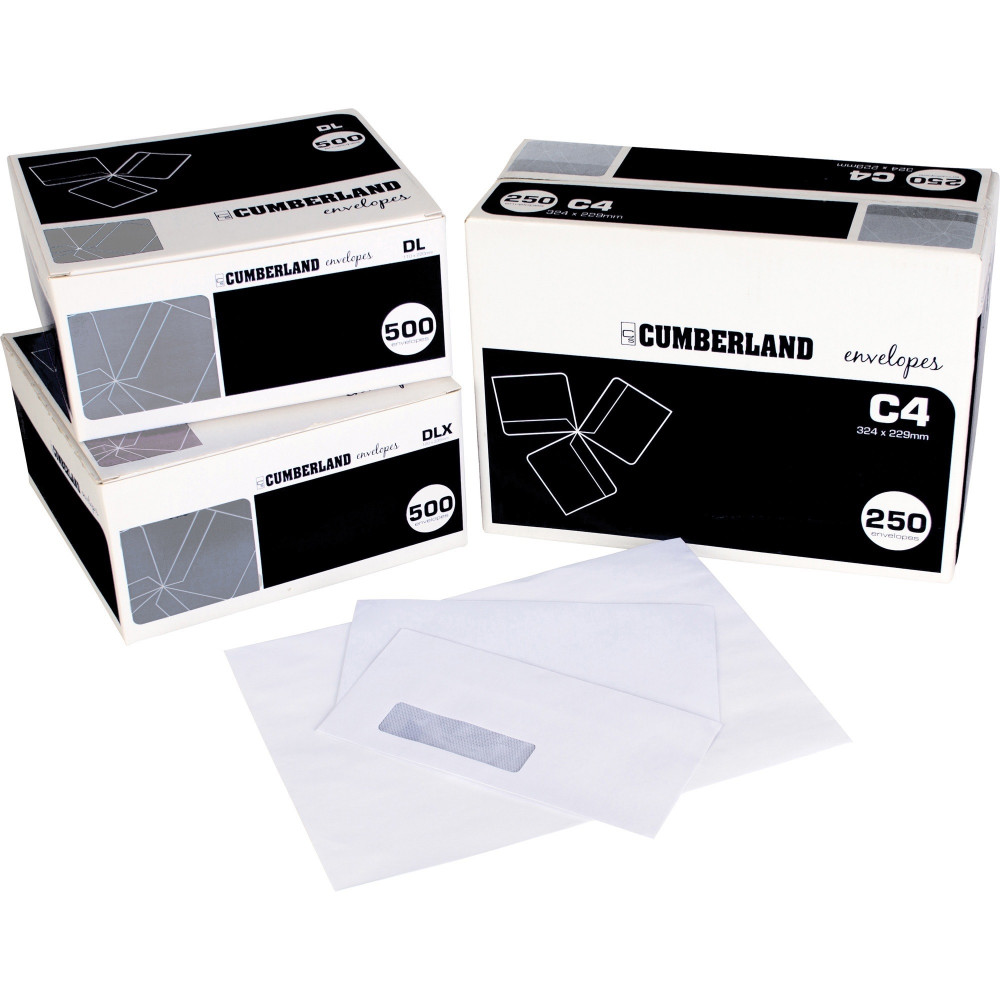 CUMBERLAND ENVELOPE LASER DL Strip Seal Plain Secretive White Box of 500