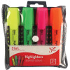 STAT HIGHLIGHTER CHISEL 2-5MM Tip Rubberised Grip Assorted Wallet of 4