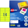 AVERY L7163FY LASER LABELS 14UP 99.1x38.1mm Fluoro Yell Pack of 25