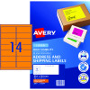 AVERY L7163FO LASER LABELS 14UP 99.1x38.1mm Orange Pack of 25