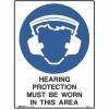 BRADY MANDATORY SIGN Hearing Protection 450x600mm Metal