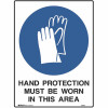 BRADY MANDATORY SIGN Hand Protection 450x600mm Metal