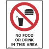 BRADY PROHIBITION SIGN  No Food 450x600mm Metal