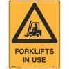 BRADY WARNING SIGN Forklifts In Use 600x450 Metal