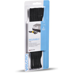 VELCRO BRAND REUSABLE Ties 25x200mm Black Pack of 5