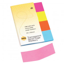 MARBIG NOTES PAGE MARKERS Transparent Neon 20mm x 50mm Assorted 160 Sheets Pack