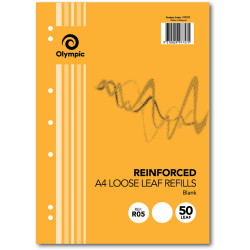 OLYMPIC REINFORCED REFILLS A4 Plain 7 Hole Pack of 50 Leaves