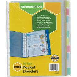 MARBIG PLASTIC DIVIDER A4 10 Tab Clear Pocket Multi Colour