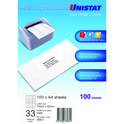 UNISTAT LASER/INKJET LABELS Copier 33 UP 70x25mm Box of 100