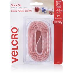 VELCRO BRAND HOOK & LOOP Tape Stick On 25Mm X 1M White