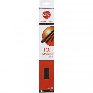 GBC PLASTIC BINDING COMB 10mm 21 Ring 65 Sheets Capacity Black Pack of 25
